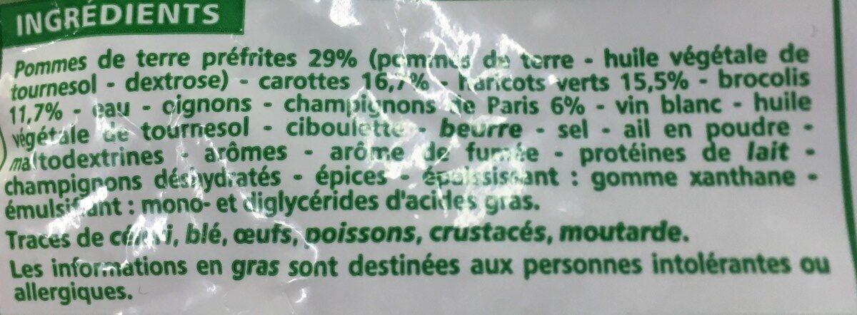 Poêlée legumes & pommes de terre - Fermière - surgelée - Ingredients