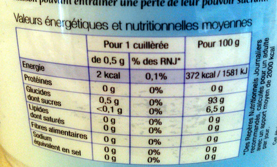 Édulcorant de table à base d'extrait de stévia - Informations nutritionnelles - fr