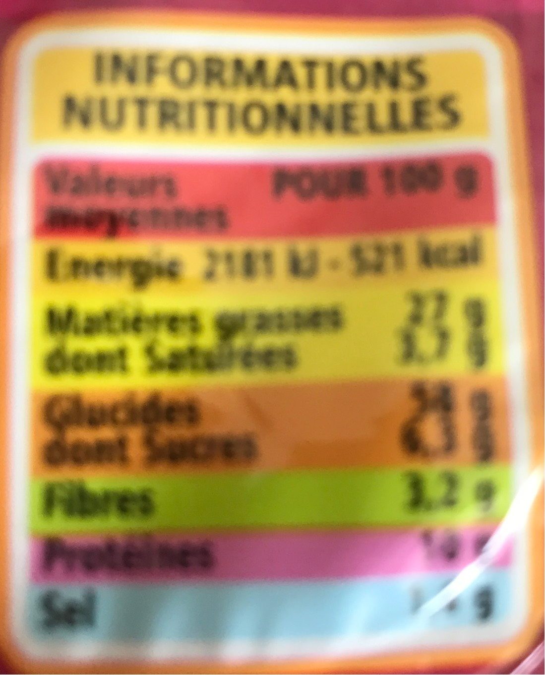 Coffret Crackers - Nutrition facts