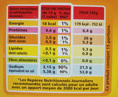 Bouillon e cube de bœuf - Informations nutritionnelles