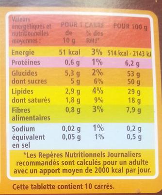 Noir Dégustation à la fleur de sel - Informations nutritionnelles - fr