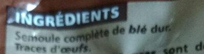 Penne rigate au blé complet Casino - Ingrediënten - fr