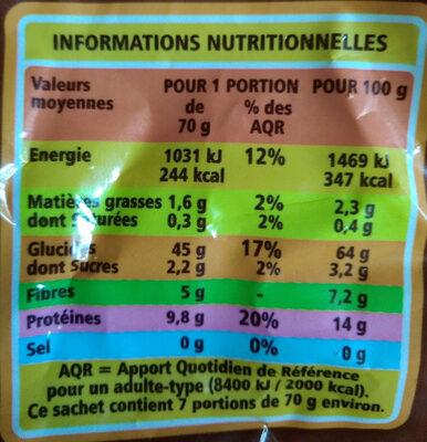 Penne rigate au blé complet Casino - Voedingswaarden - fr