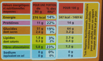 Coquillettes au Blé Complet - Informations nutritionnelles - fr