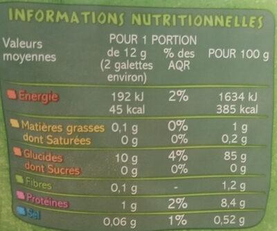 Galettes de Mais extra fines - Informations nutritionnelles - fr