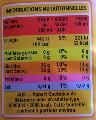 100% pur jus clémentine raisin blanc orange - Nutrition facts