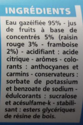 Boisson gazeuse light saveur fruits rouges - Ingredients