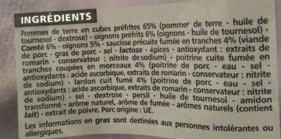 Poêlée à la Franc-comtoise Pommes de terre - Comté - Saucisse - lard - Lardons - Ingredients