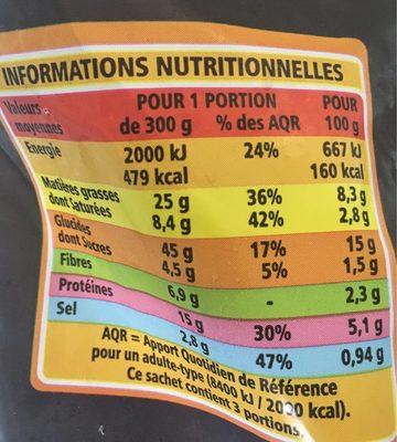 Poêlée à la Franc-comtoise Pommes de terre - Comté - Saucisse - lard - Lardons - Nutrition facts