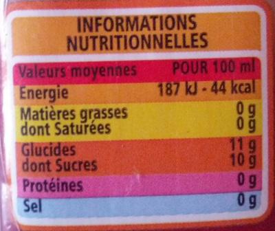 100% pur jus de pomme - Informations nutritionnelles