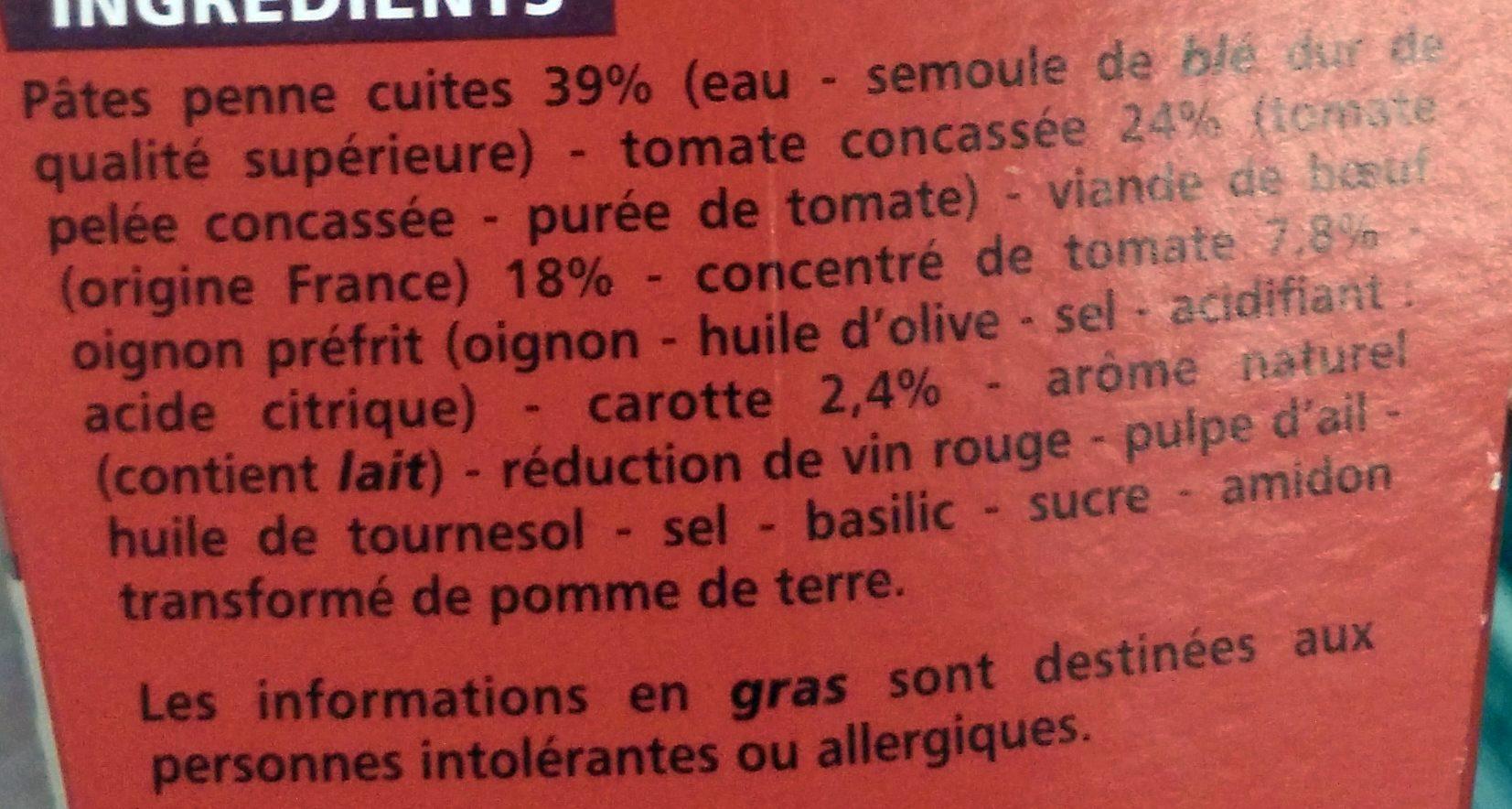 Box Penne Bolognaise - Ingrediënten - fr