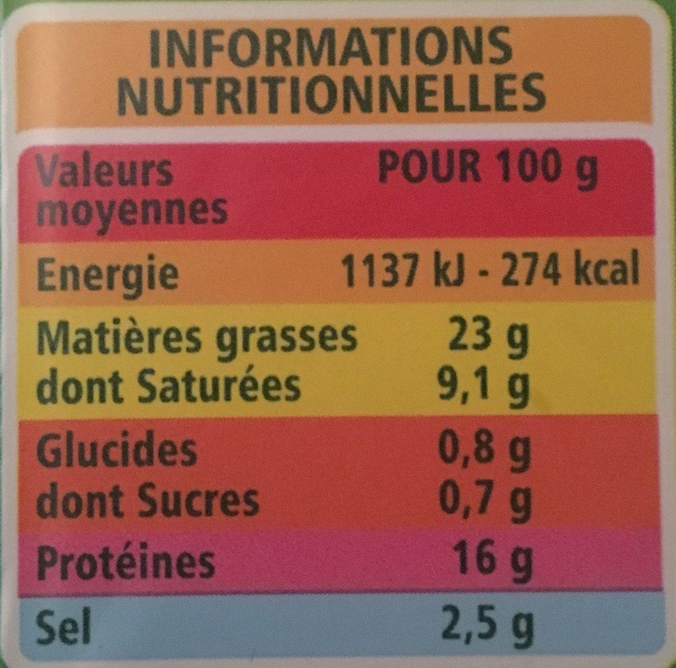 Lardons nature - Informations nutritionnelles