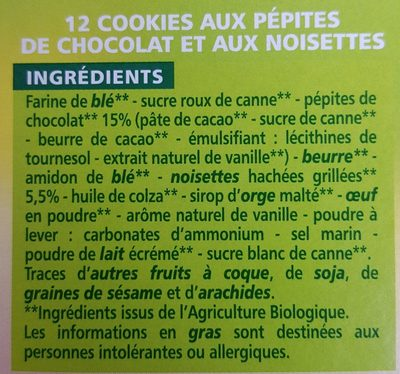 Cookies Noisettes & Chocolat - Ingredients