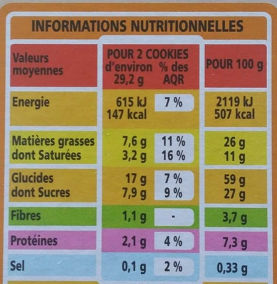 Cookies Noisettes & Chocolat - Nutrition facts
