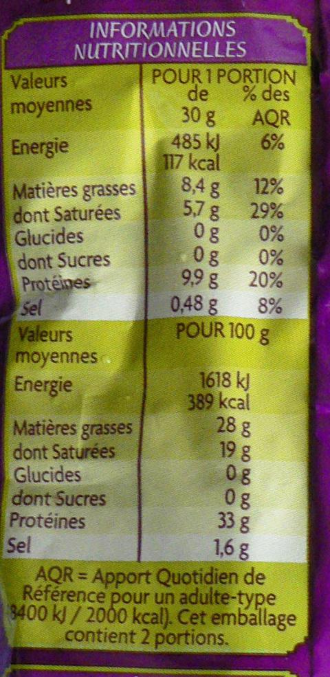 Parmigiano Reggiano râpé - 18 mois d'affinage minimum - Informations nutritionnelles - fr