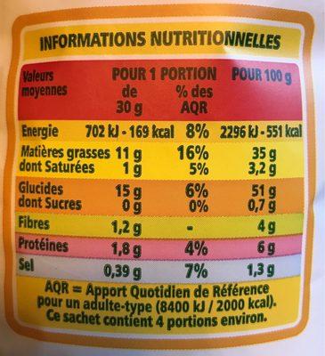 Chips ondulées paysannes - 营养成分 - fr