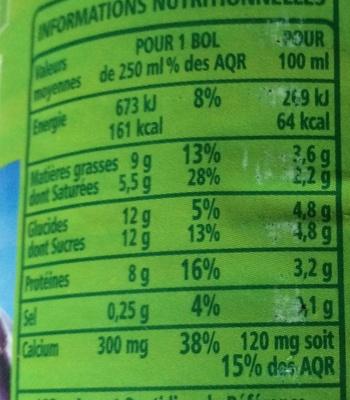Lait entier Bio - Informations nutritionnelles - fr