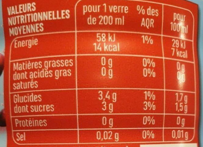 Boisson au jus de cranberry light - Informations nutritionnelles - fr