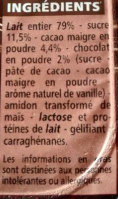 Crème dessert Chocolat noir - Ingrédients