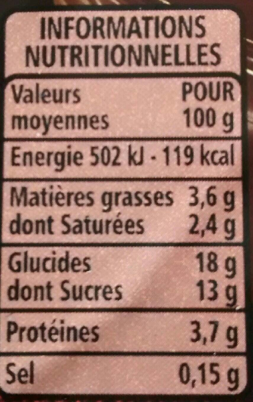 Crème dessert Chocolat noir - Informations nutritionnelles