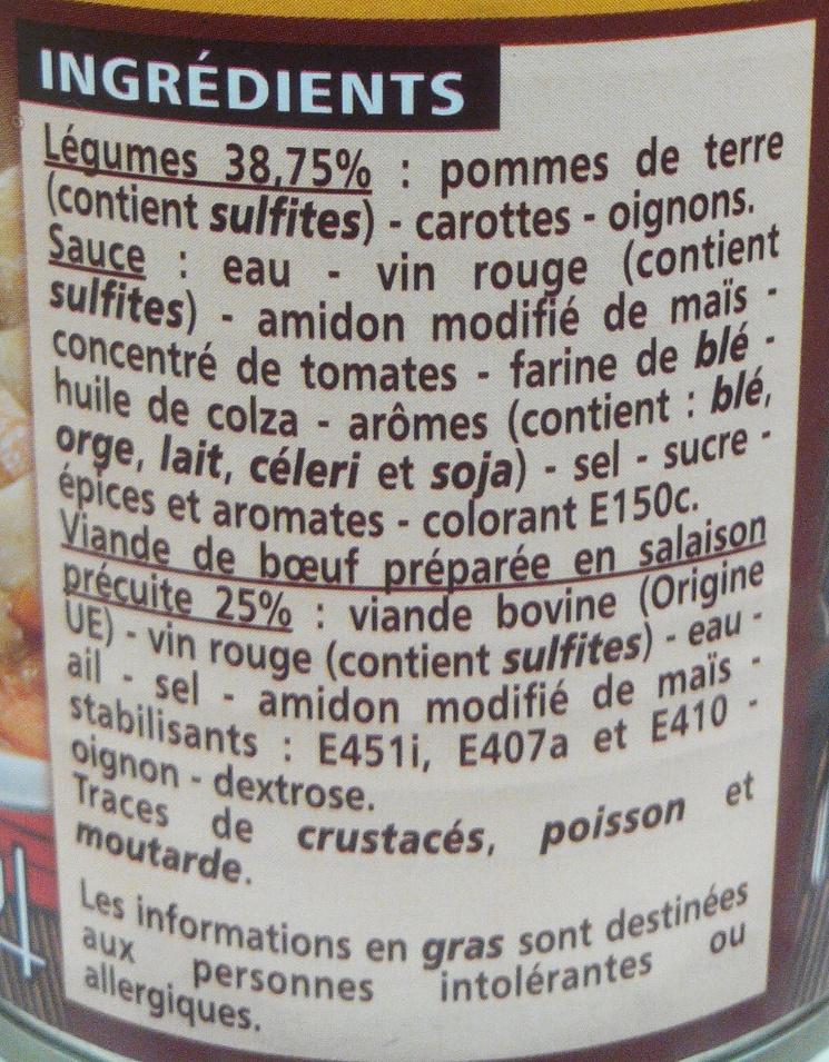 Boeuf bourguignon aux pommes de terre et aux carottes - Ingredients - fr