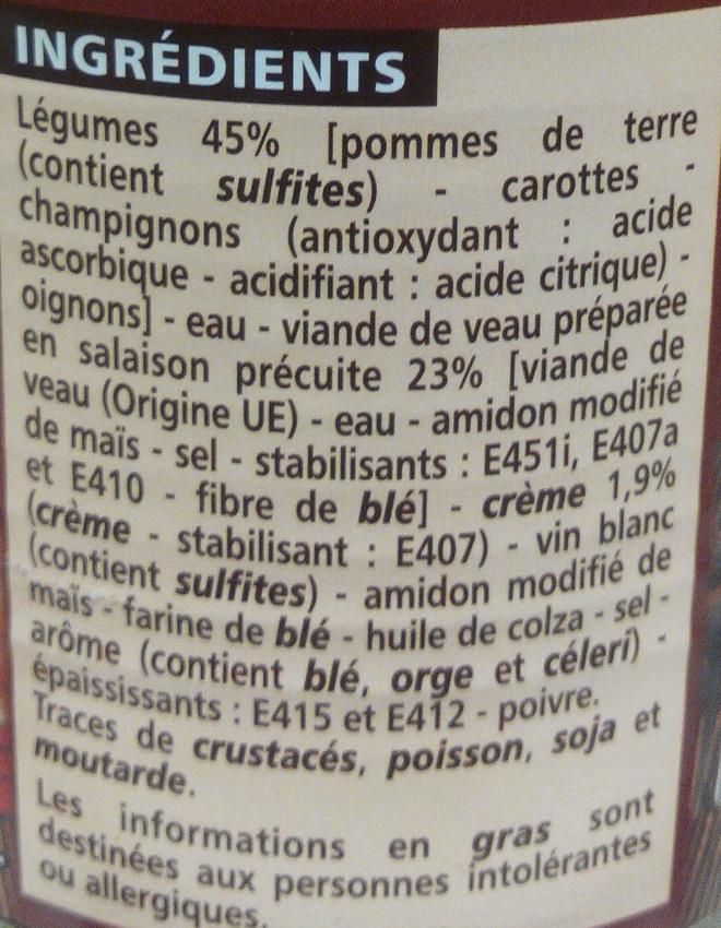 Blanquette de Veau à la crème fraiche et aux légumes - Inhaltsstoffe - fr
