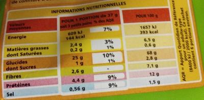 Korast Blé Complet Sans Sucres Ajoutés - Informations nutritionnelles