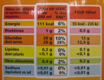 Jus Orange Banane à base de concentré et de purée - Voedingswaarden - fr