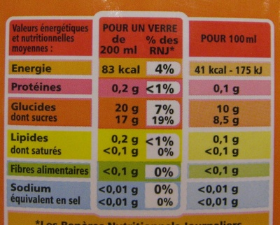 100 % Pur Jus Pamplemousse blanc - Informations nutritionnelles - fr