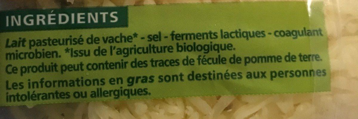 Emmental bio râpé - Ingrédients