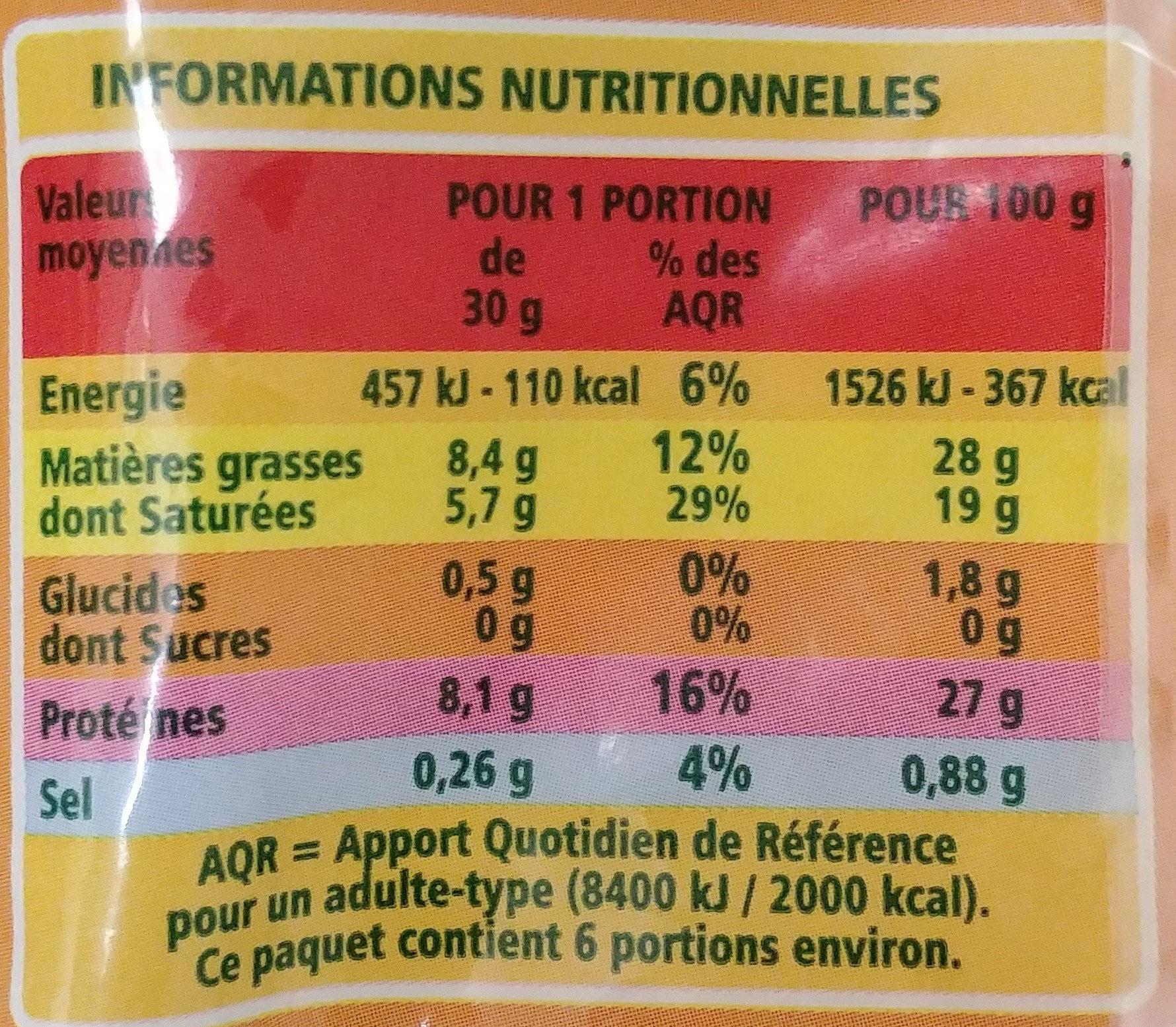 Emmental bio râpé - Informations nutritionnelles