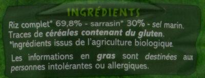 Galettes riz sarrasin - fines - Ingrediënten - fr