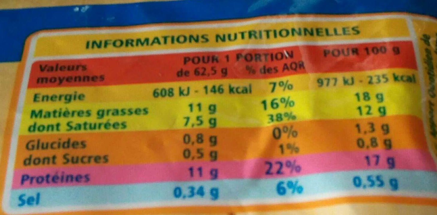 Mozzarella - Informations nutritionnelles