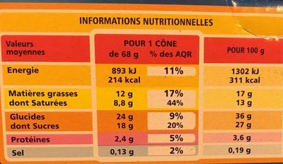 Cônes Menthe Chocolat - Voedingswaarden - fr