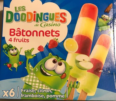 Bâtonnets 4 fruits (fraise, citron, framboise et pomme) - Product