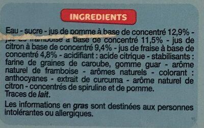 Bâtonnets 4 fruits (fraise, citron, framboise et pomme) - Ingredients