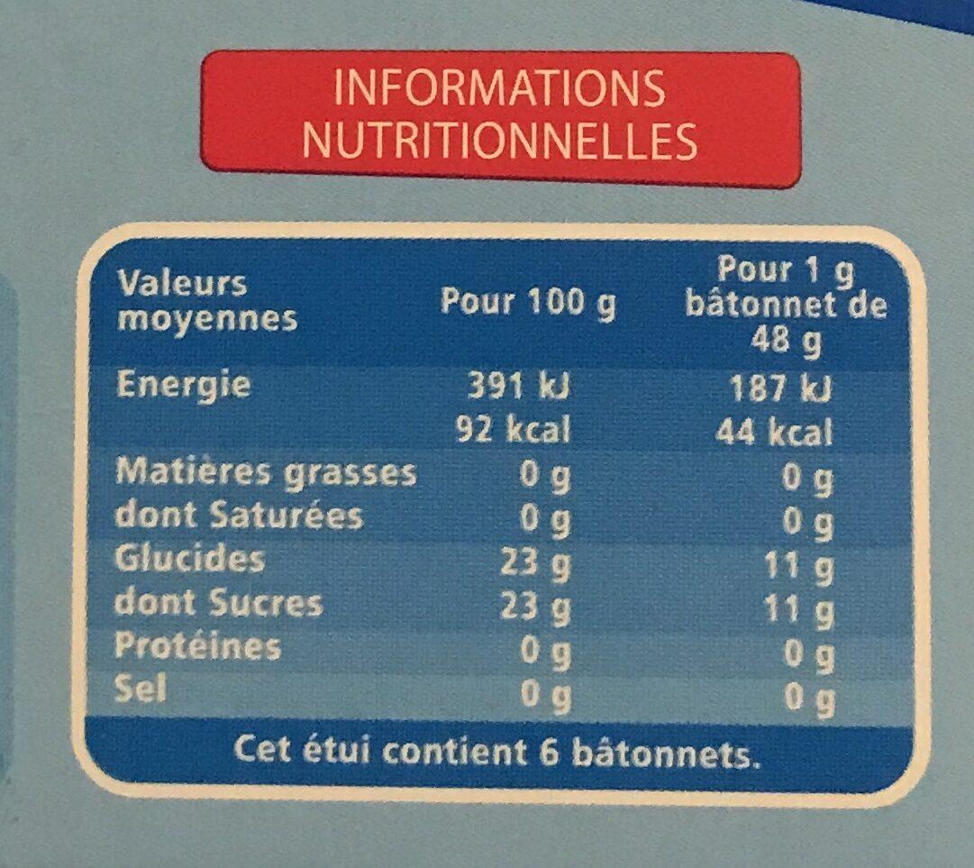 Bâtonnets 4 fruits (fraise, citron, framboise et pomme) - Nutrition facts