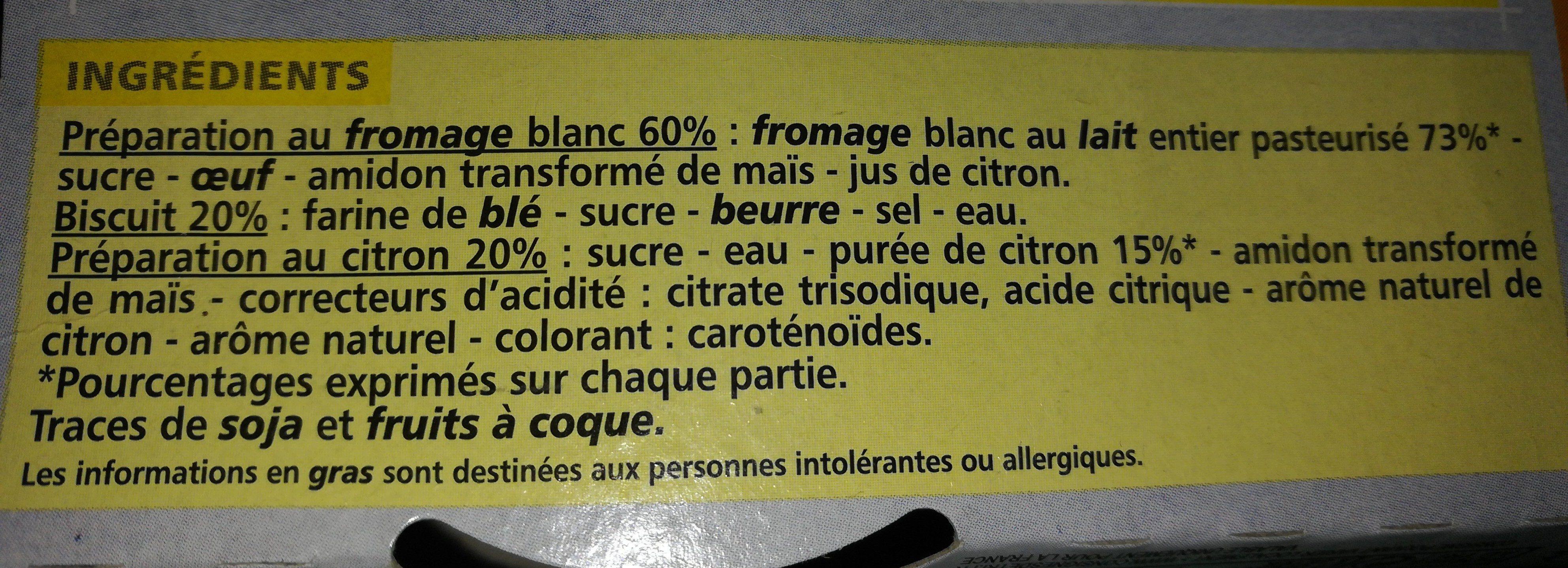 Cheesecake Citron - Ingrédients - fr
