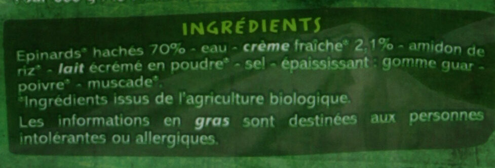 Epinards hachés à la crème Bio - Ingrediënten