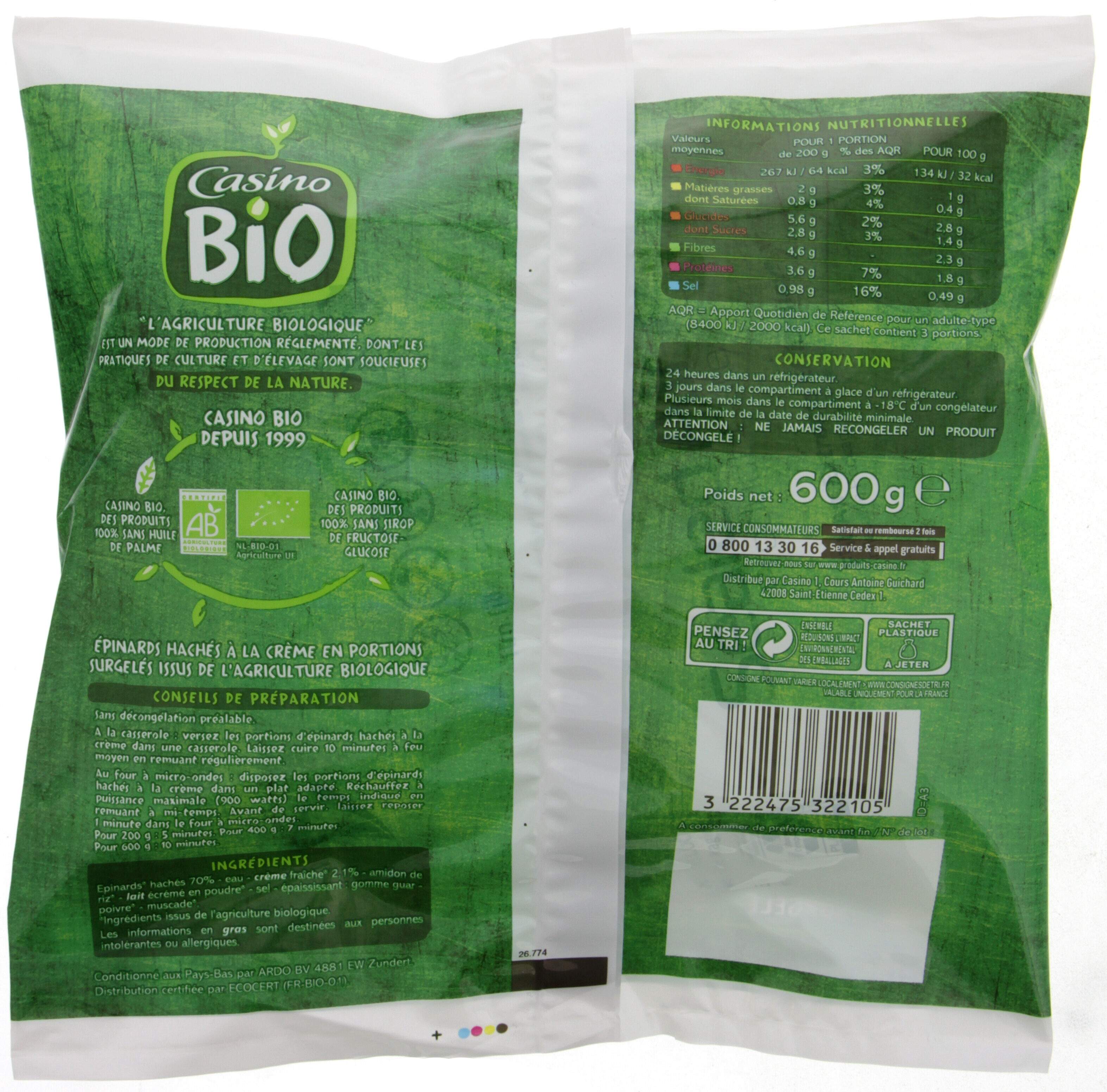 Epinards hachés à la crème Bio - Voedingswaarden
