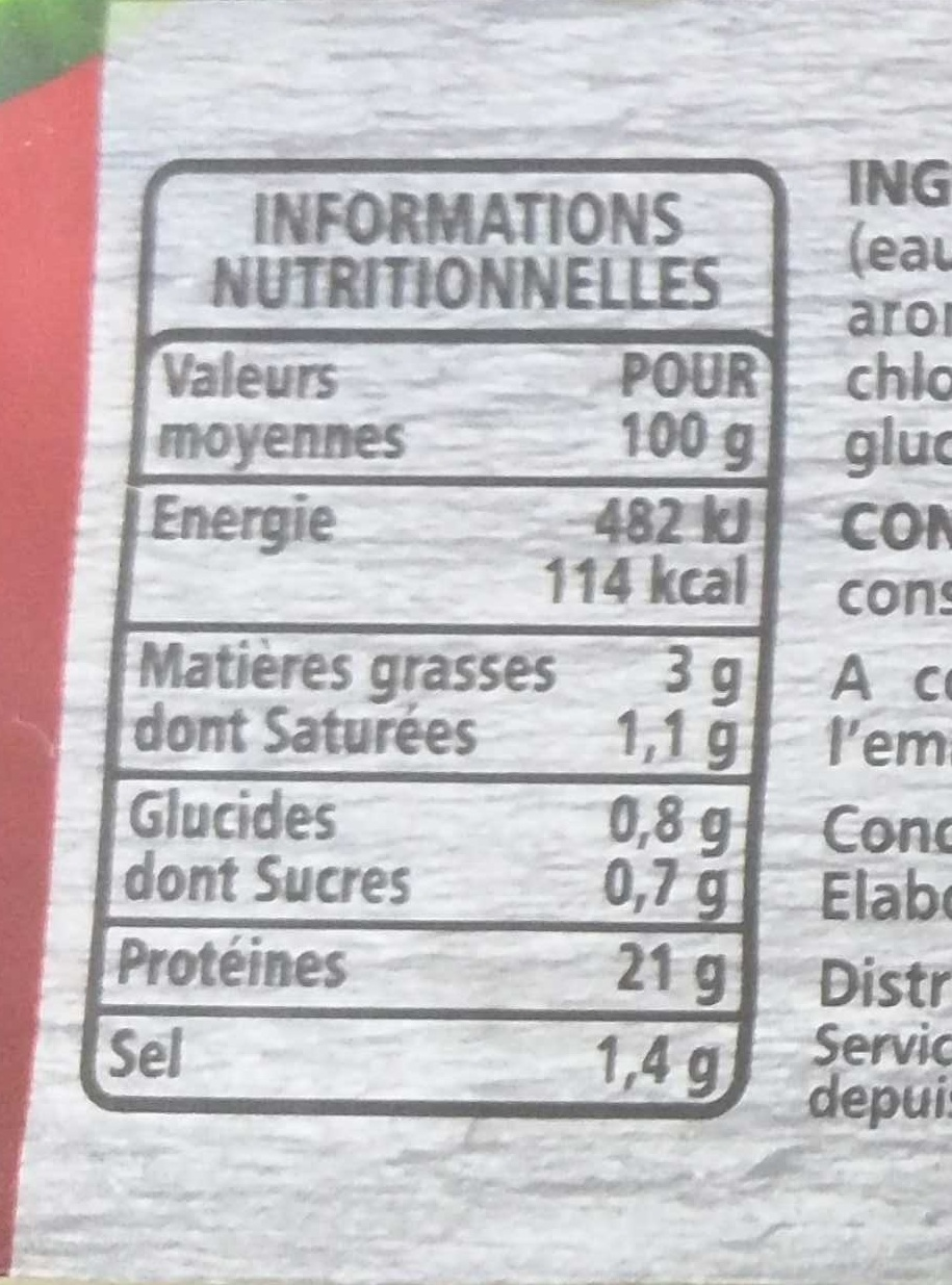 Jambon Supérieur découenné dégraissé -25% de sel par rapport à la moyenne des jambons cuits supérieurs du marché - Informations nutritionnelles