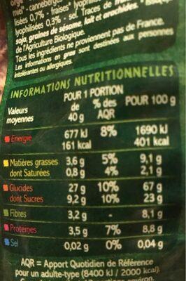 Muesli croustillant aux fruits rouges - Voedingswaarden - fr