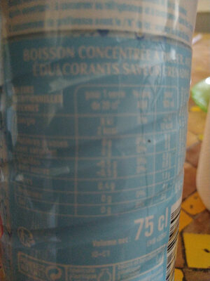 sans sucres grenadine - Informations nutritionnelles