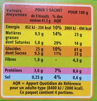 Sablés chocolat noir - Informations nutritionnelles