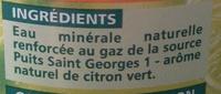 PUITS ST GEORGES CITRON Saveur citron vert- sans sucres - Ingrédients