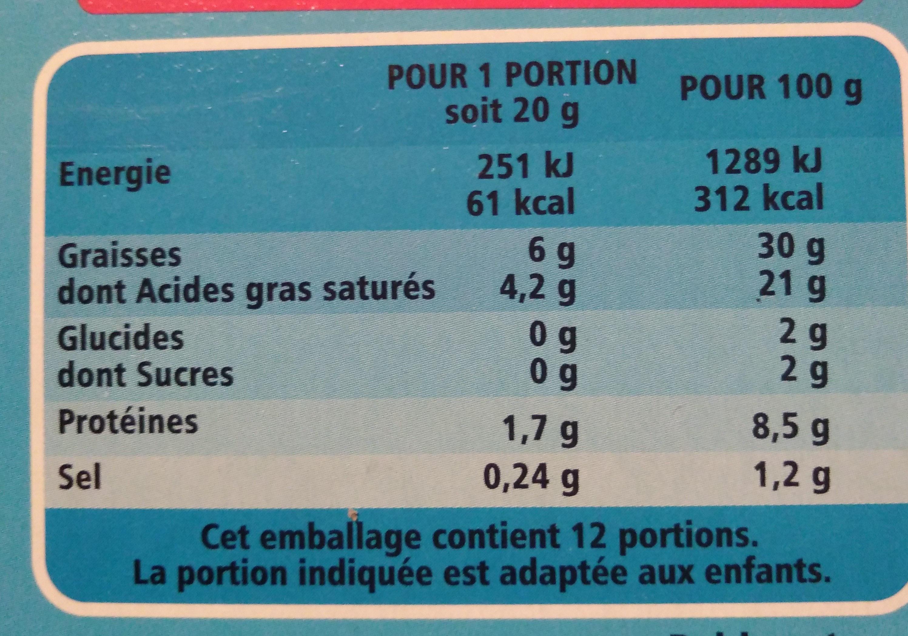 Les Petits Carrés - Informazioni nutrizionali - fr
