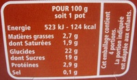 Flan choco sauce coulante goût choco - Informations nutritionnelles - fr