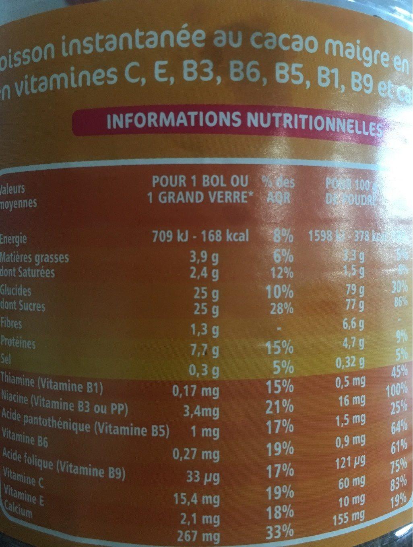 P'tits granulés cacaotés - 7 vitamines et calcium - les doodingues de casino - Nutrition facts