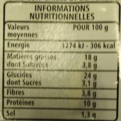 Club bacon grillé - pain de mie au son grillé - Informations nutritionnelles