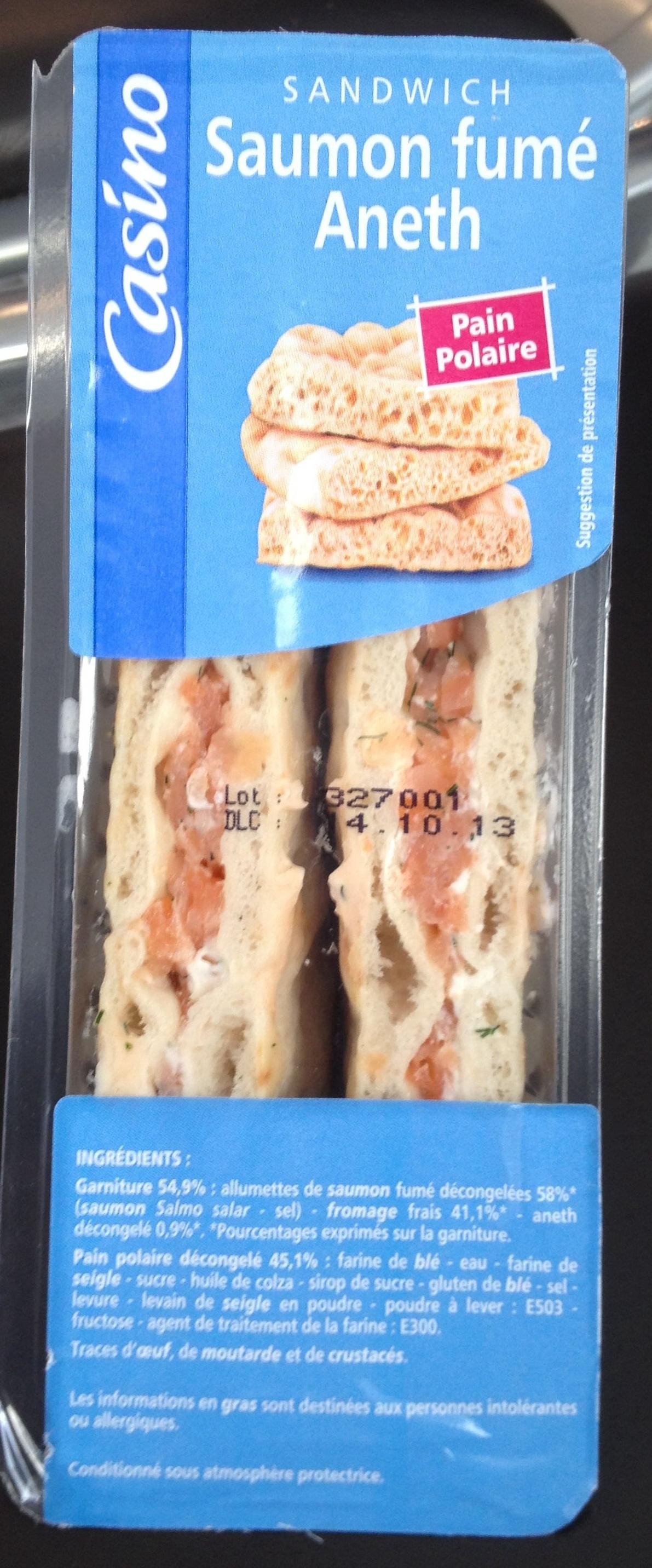 Sandwich Saumon fumé Aneth - Pain polaire - Produit
